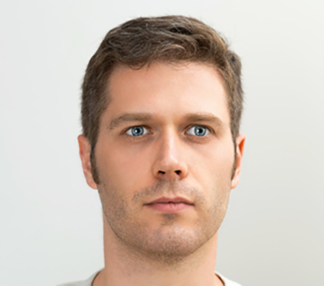 Handsome blue-eyed man portrait. Space for your text.